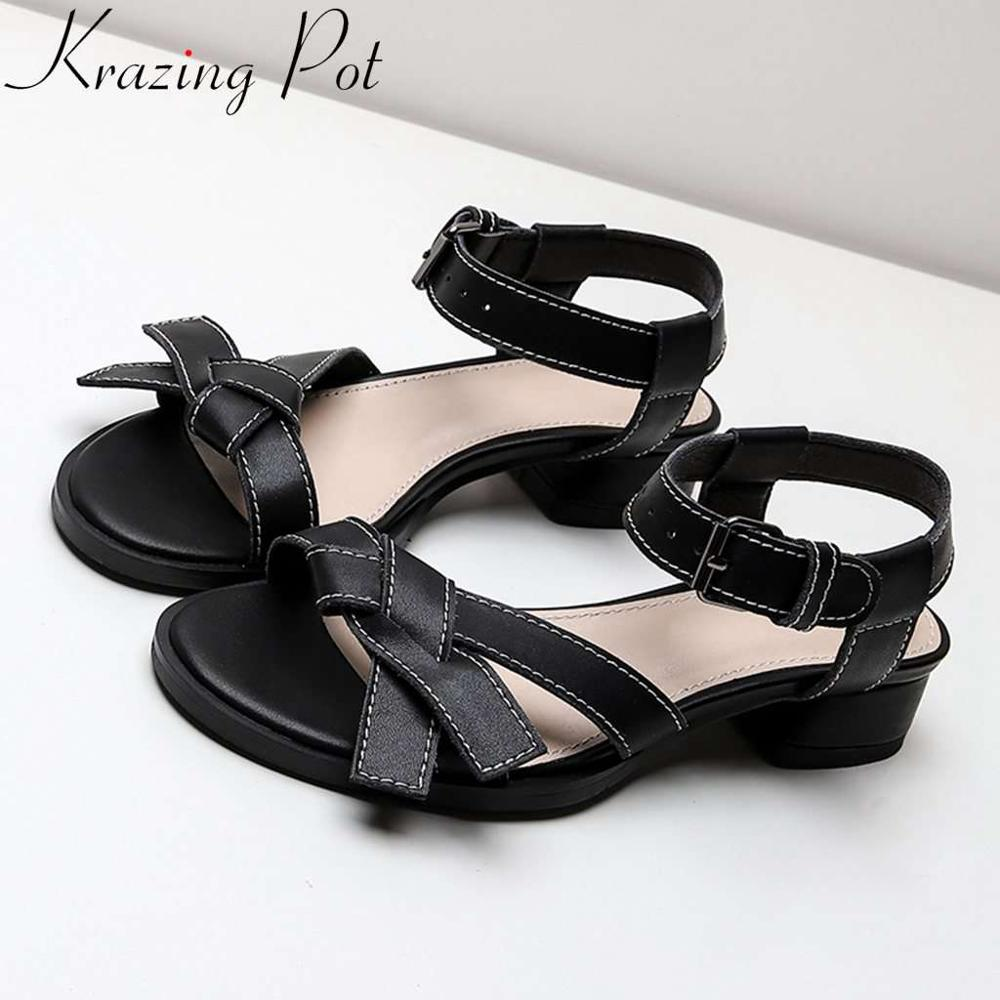 Krazing Pot simple preppy style butterfly knot decoration buckle strap cow leather women sandals dating party