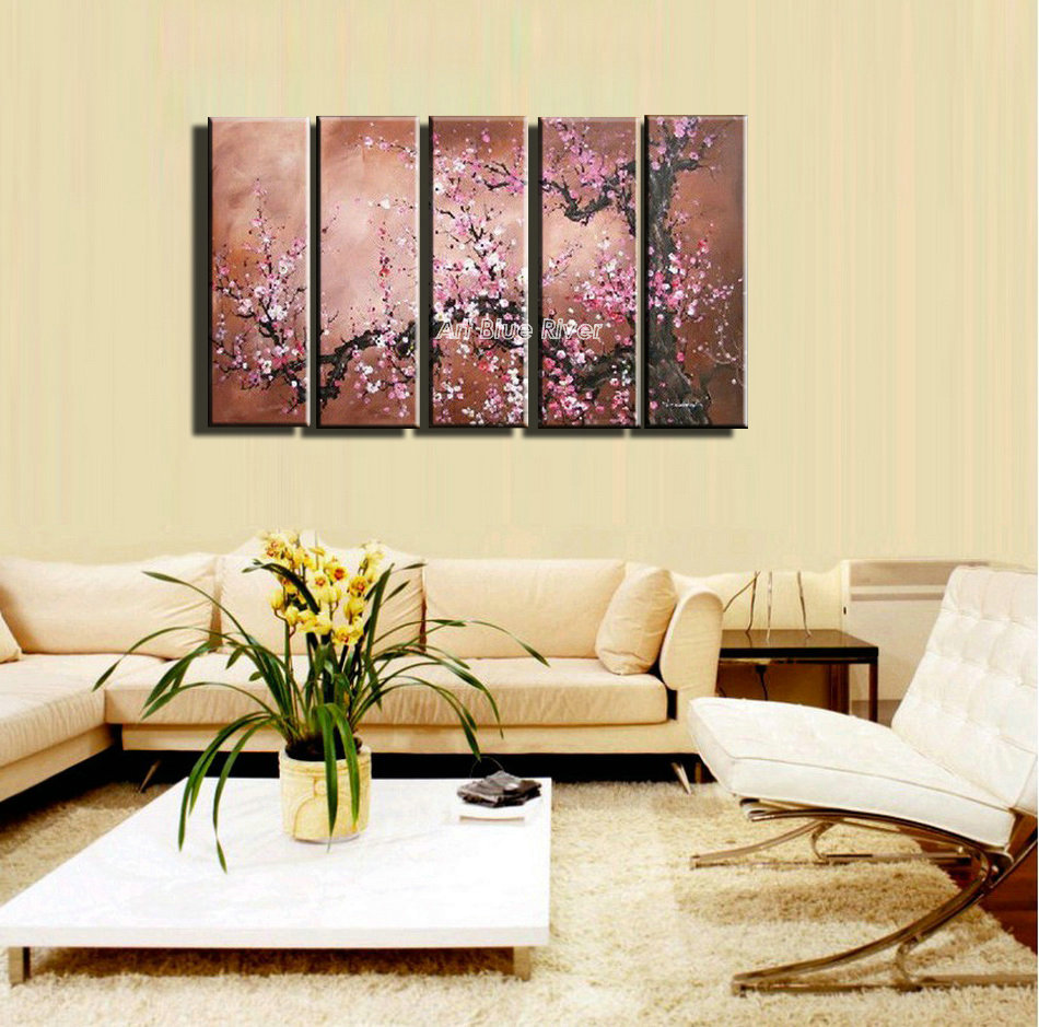 5 piece canvas art large Abstract modern oil painting cherry blossom ...