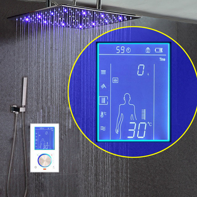 "Digital Shower Bathroom System LCD Thermostat Diverter LED Shower Set 16"" SPA Mist Rainfall Shower Head 304SUS With Hand Spray"