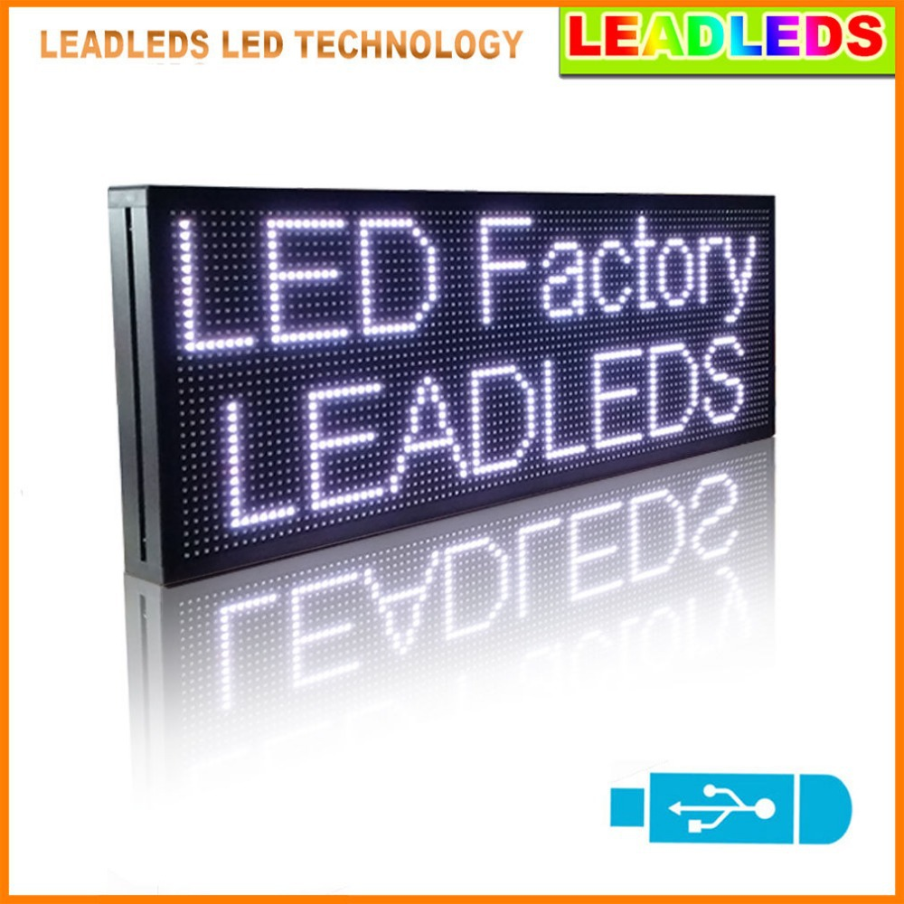 30x11inches White Led Display Board Multi-line Message Usb Programmable Scrolling Message Led Sign Board For Business And Store