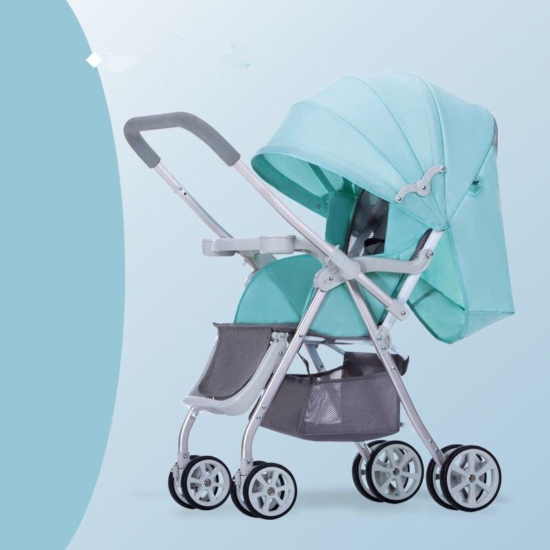 Детская прогулочная коляска, многофункциональная алюминиевая, Легко складная детская коляска с четырьмя колесами - Цвет: green