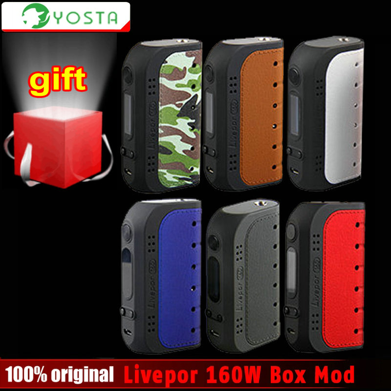 Original Yosta Livepor 160W Box Vape Mod electronic cigarette No 18650 Battery Box Mod or IGVI RDA Tank 160W Power VS Smok Eleaf 100% original geekvape gbox mod 200w gbox squonker box mod vape fit 8ml squonk bottle support radar rda tank