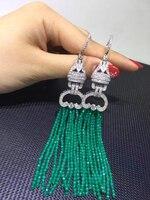 Длинные кисточки серьги зеленый камень серьги нескольких слоев 925 серебро с фианит Женская мода ювелирные изделия