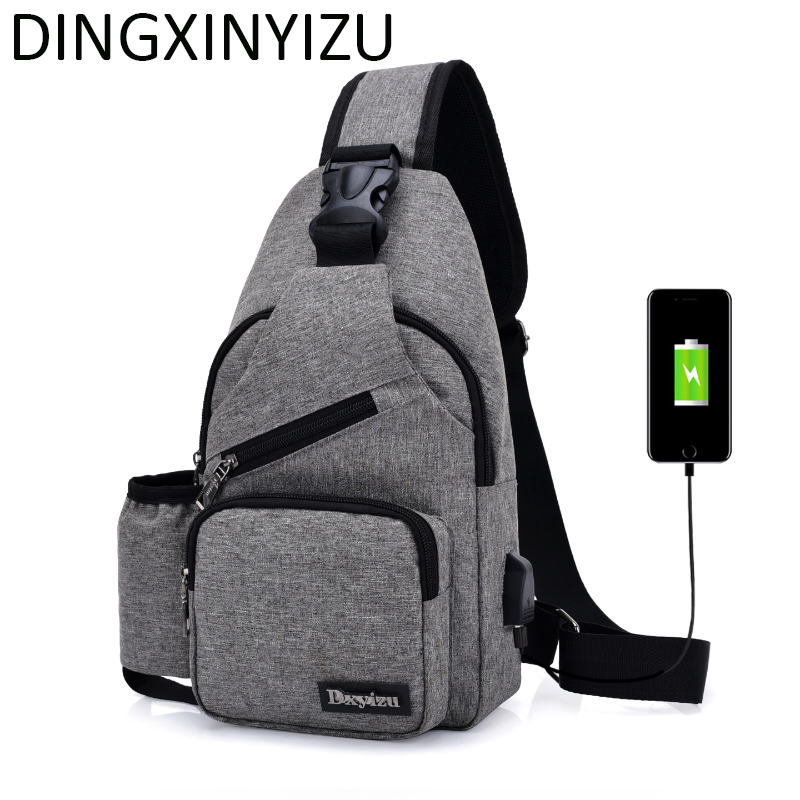 DINGXINYIZU Brand Canvas Men Chest Pack Single Shoulder Strap Back Bag Crossbody Bags For Women Casual Travel Rucksack Chest Bag