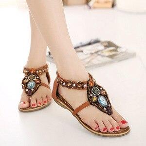 Image 4 - Женские сандалии в богемном стиле GKTINOO, винтажные сандалии на плоской подошве с открытым носком, черные, коричневые шлепанцы, лето 2019