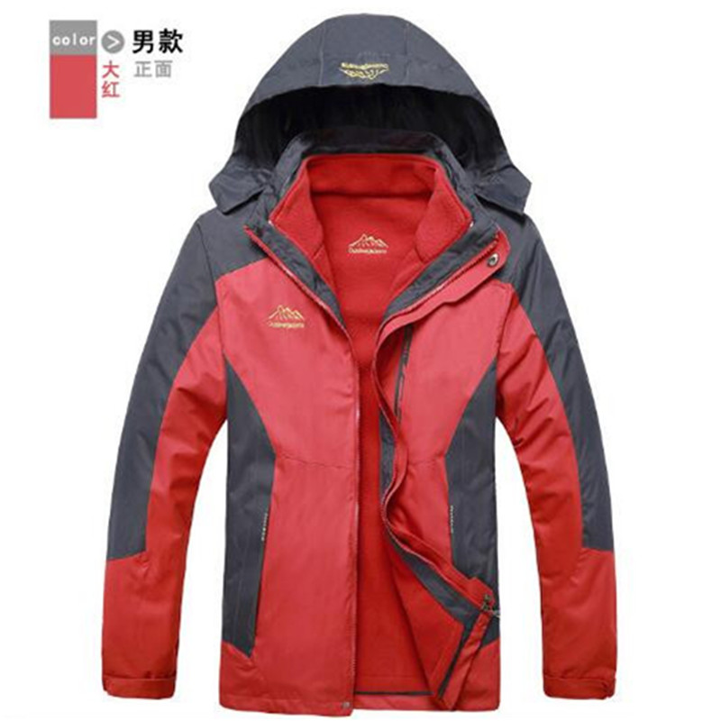 987bf7cb781 Men's Outdoor Jackets Waterproof 3 in 1 Down Warm Jacket Outdoor Sports  Camping Mountaineering Skiing Coat Clothing 10 Colors