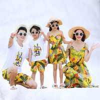 Mommy and me clothes summer mother daughter matching clothe dresses dad son t shirt+shorts 2 pcs clothing sets family