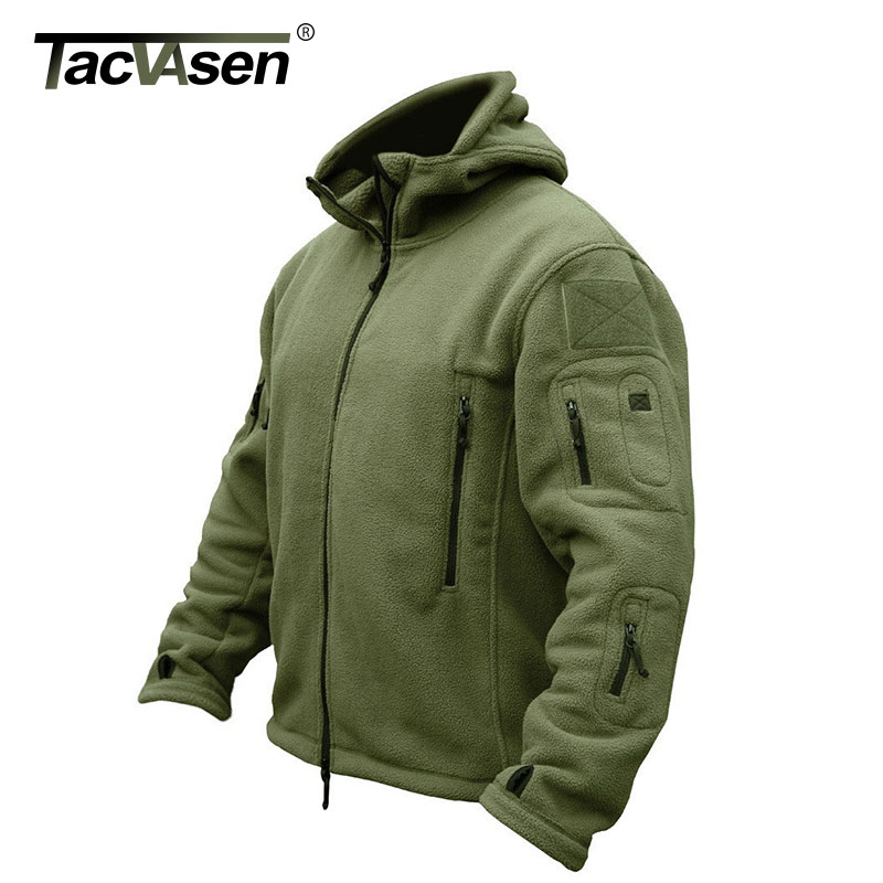 TACVASEN Winter Military Fleece Jacket Warm Men Tactical Jacket Thermal Breathable Hooded Men Jackets And Coat Outerwear Clothes