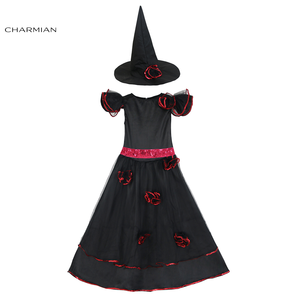 Charmian Elegant Black Witch Halloween Costumes for Girls Party Fancy Dress with Belt Carnival Cosplay Costume Clothing