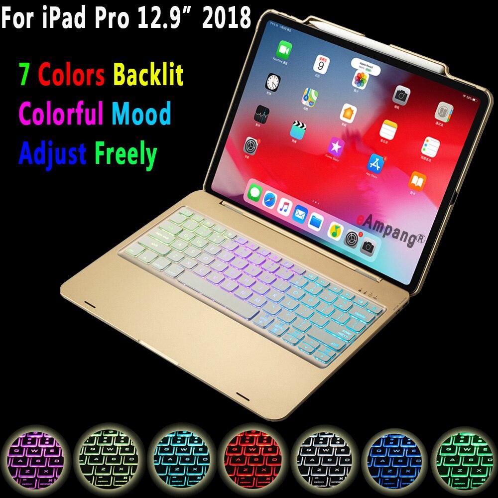 Coque pour Apple iPad Pro 12.9 2018 A1876 A2014 Coque 7 couleurs rétro lumière Bluetooth clavier Funda Coque porte-crayon