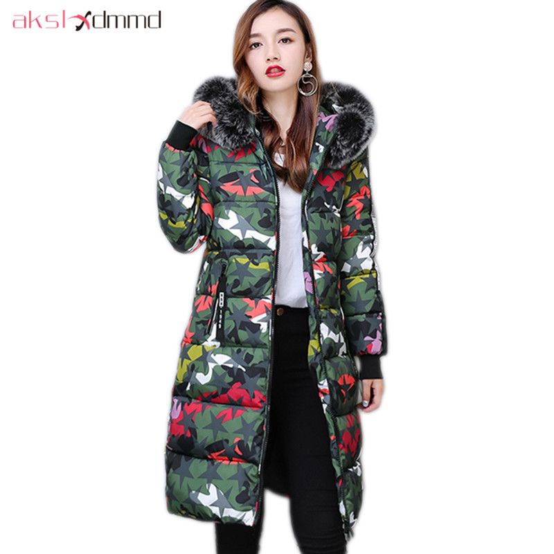 AKSLXDMMD Parka Mujer 2017 New Women Jacket Winter Printed Camouflage Fur Collar Hooded Long Coats Female Warm Overcoat LH1133 akslxdmmd casual thick winter jacket women parka 2017 new fur hooded long coat female solid color overcoat lh1203