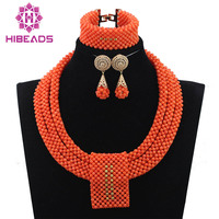 Coral Necklace Earrings Bracelet Set for Brides Fabulous Wedding African Coral Bib Statement Jewelry Set Women Costume ABH177