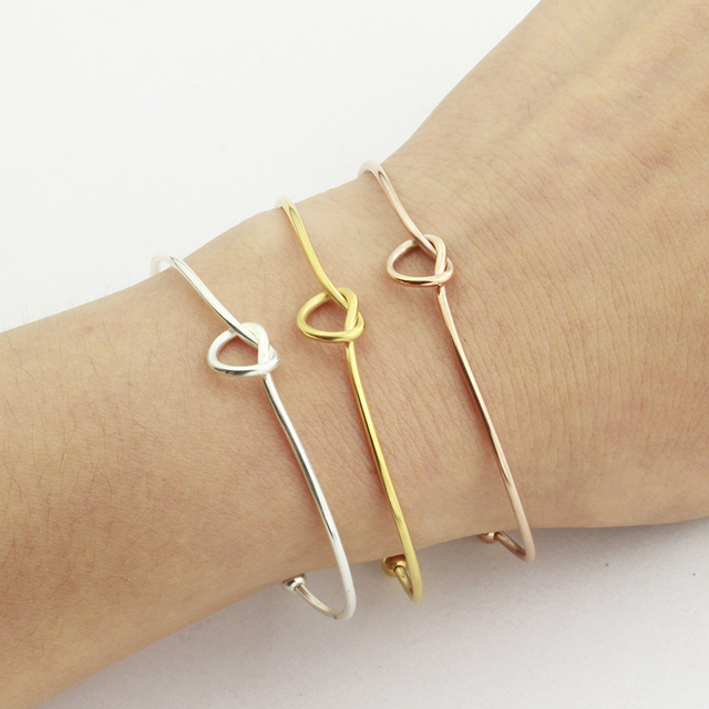 Minimalism Heart Bracelets For Women Lucky Charm Jewelry Stainless Steel Rose Gold Knot Cuff Bracelets & Bangles Friend Gifts