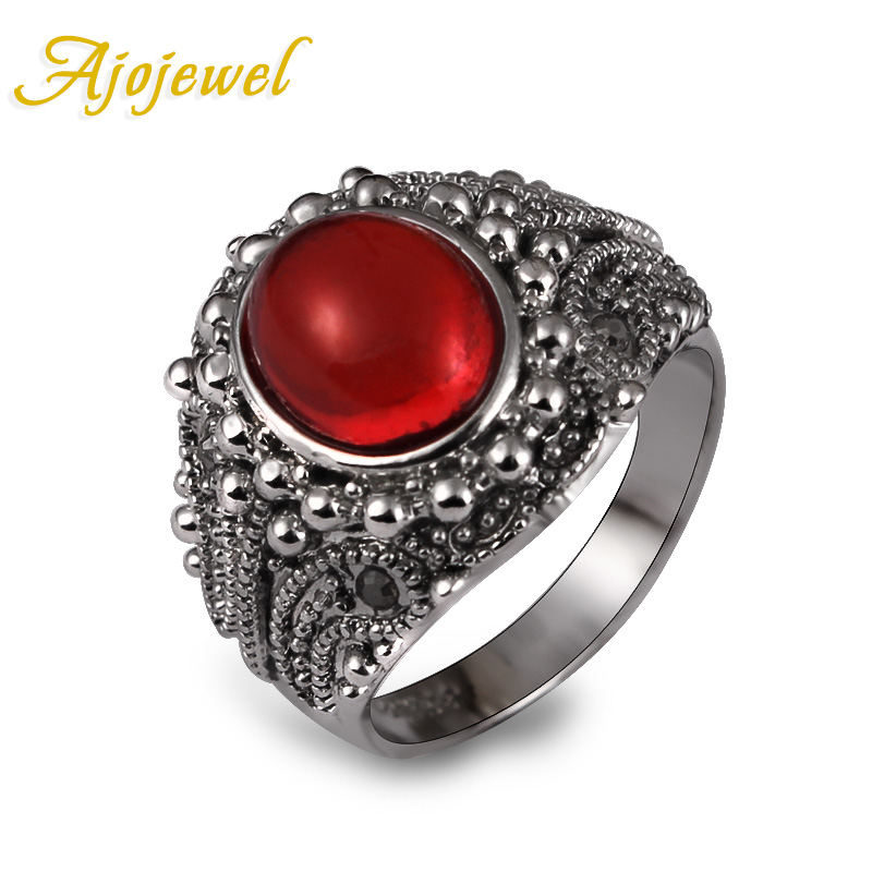 Ajojewel Vintage Accessories White Gold Resin Stone Red Rings For Women 2016 Bague Femme