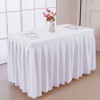 Solid Color polyester Square Table cover with skirt style made together wedding hotel Booth Setting table decoration tablecloth