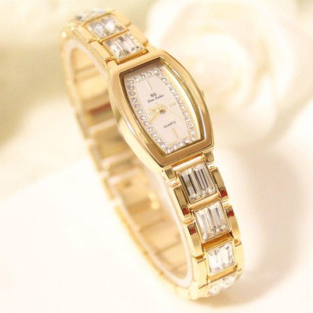 8e2fe30b658 BS Marca Senhora Relógios de Quartzo Mulheres Strass Luxo Ouro Antigo  Quadrado Ocasional Vestido de Aço