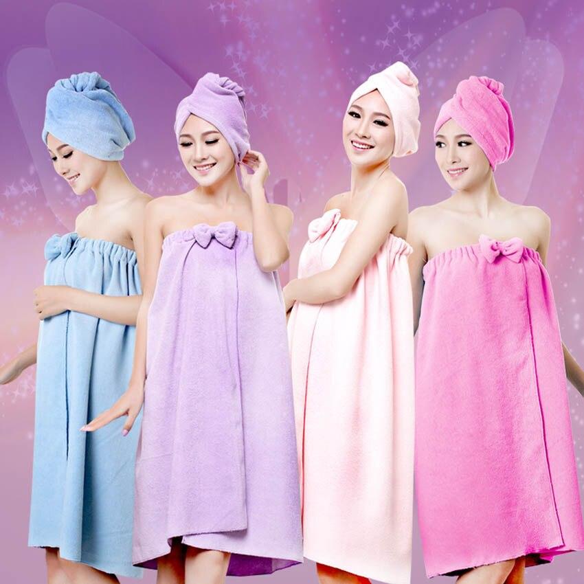 Serviettes De bain douche femmes 145x75cm bain magique microfibre plaine Serviette jupe sèche cheveux casquette Toalla Serviette De Plage 5