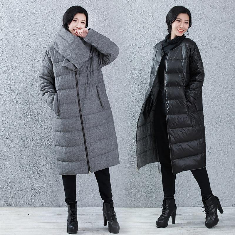 Reversible   Down     Coat   Winter Bow Collar White Duck   Down   Jacket Women Long   Down   Jacket Outwear Parkas