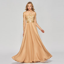 Tanpell scoop neck prom dresses long sleeves button floor length a line gown women celebrity custom formal long prom dress цены