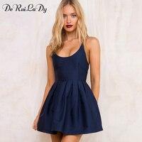 DeRuiLaDy Women Sexy Backless Dress Female Elegant Summer Sling Pleated Dresses Casual Sleeveless Party Mini Dress