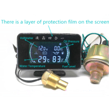 New 4 In 1 LCD 12v/24v Excavator Truck Car Oil Pressure Gauge + Voltmeter  Water Temperature +Oil Fuel