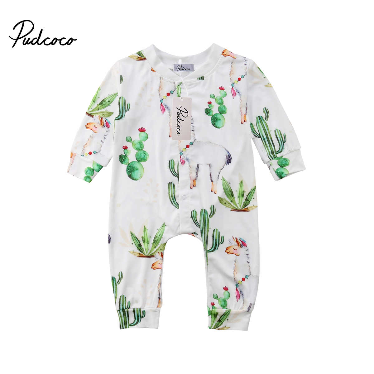 2018 Brand New Toddler Infant Newborn Cactus Kids Baby Boy Girls Alpaca Romper Cactus Jumpsuit Pants Long Sleeve Clothes Outfits