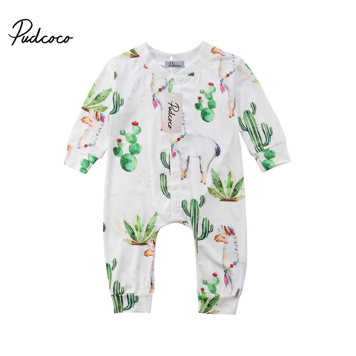 Toddler Infant Newborn Cactus Kids Baby Boy Alpaca Romper Cactus Jumpsuit Pants Long Sleeve Clothes Outfits