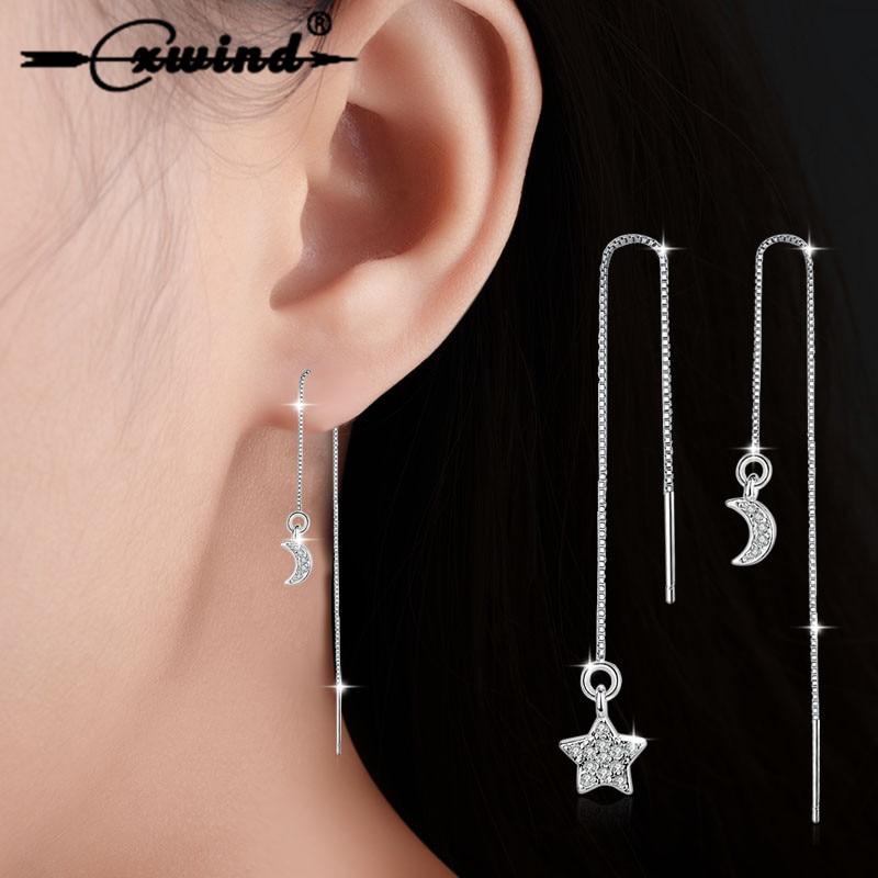 Cxwind Korea Fashion Star Moon Earring Jewelry Crystal Long Chain Asymmetrical Stars Moon Tassel Woman Earrings Wedding Bijoux