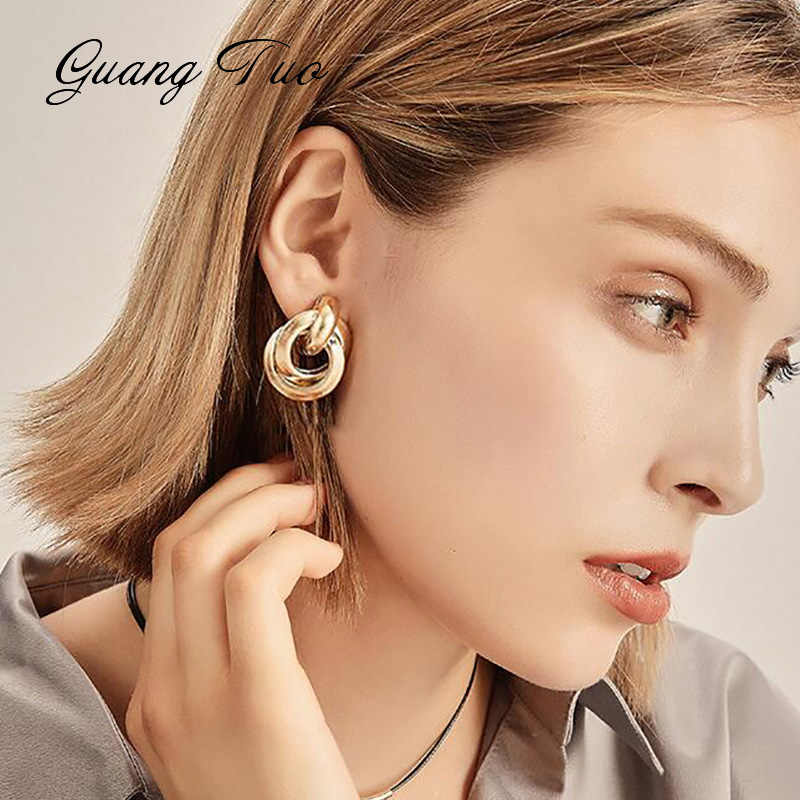 Vintage Metal Gold Silver Stud Earring For Women Trendy Punk Statement Luxury Party Gift Earrings Fashion Jewelry Wholesale
