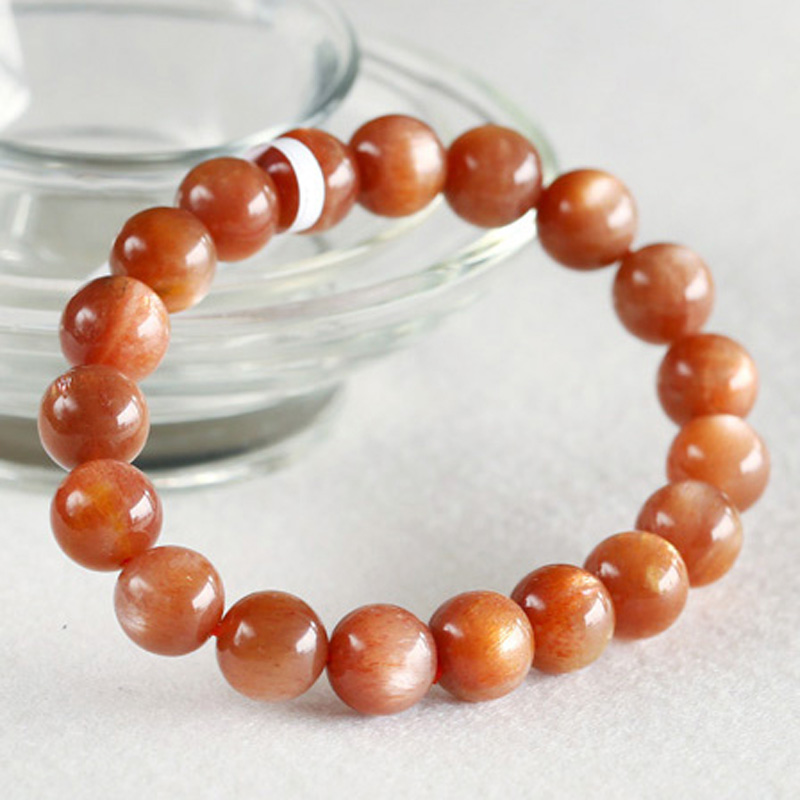 купить Free shipping Natural Gold Sunstone Stretch Bracelet Round Beads 10mm Sunstone Fit Jewelry DIY Wholesale discount 03500