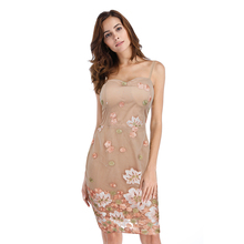 40aa2dd61f5 Sexy Women dress Tube top Strapless Halo Sling dress Net yarn Embroidery  Package hip Mini dress