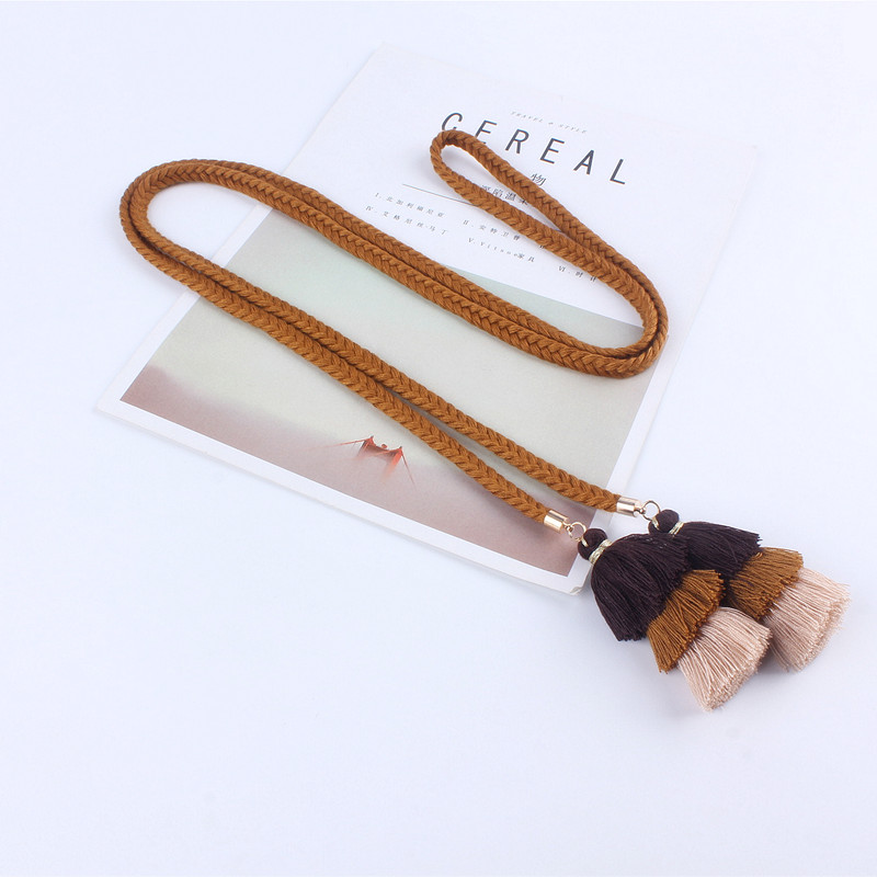 Fashion  Women Belts Rope For Dresses Tassel Braided Waistband Belt Twist Weaving Knot Decorated Belt Brown Black Cotton String
