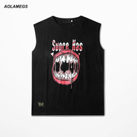 Aolamegs Tank Tops Men Hip Hop Rock Big Mouth Printed Sleeveless T Shirt Fitness Singlet Vest