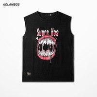 Aolamegs Tank Tops Men Hip Hop Rock Big Mouth Printed Sleeveless T Shirt Fitness Singlet Vest