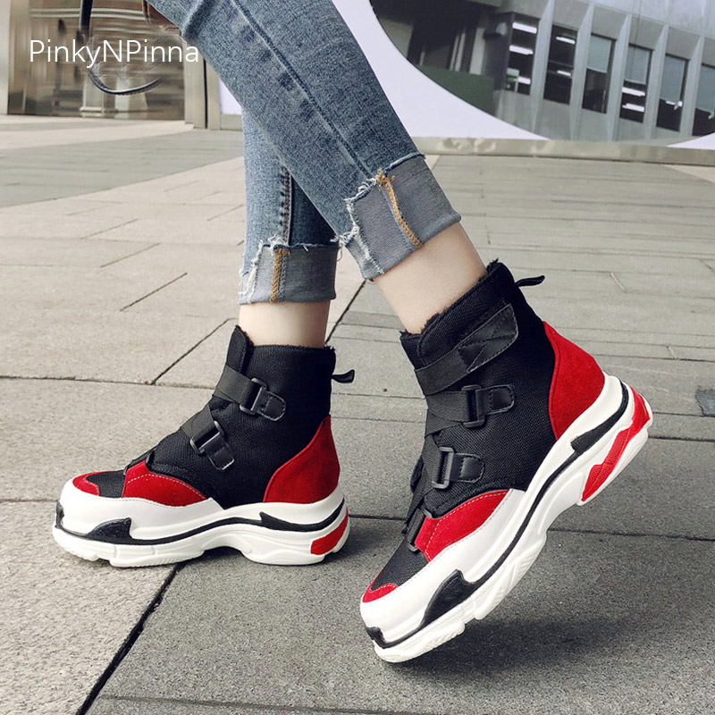 Women high top trainers wide bands platform flat sneakers booties breathable air mesh upper plush inside fashion winter boots in Ankle Boots from Shoes