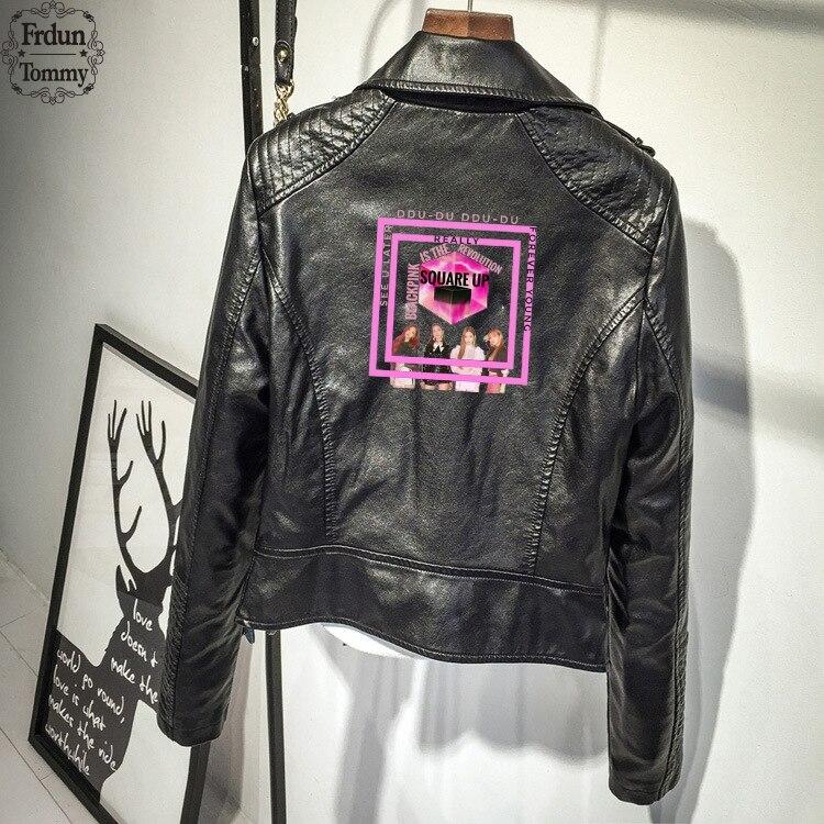 Frdun Tommy BLACKPINK vestes en cuir synthétique polyuréthane femmes sud côté Serpents Streetwear en cuir marque Outwear