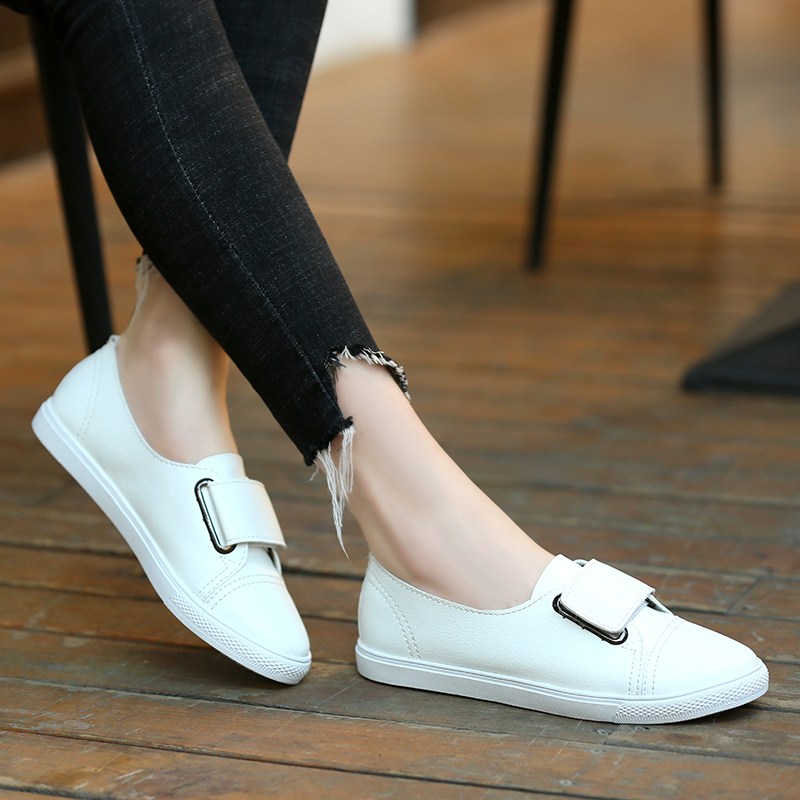 2019 Fashion Women Loafers Flats Woman Lady Female White   Leather   Moccasins Casual Shoes Zapatos De Mujer Flat Shoes Women H-749