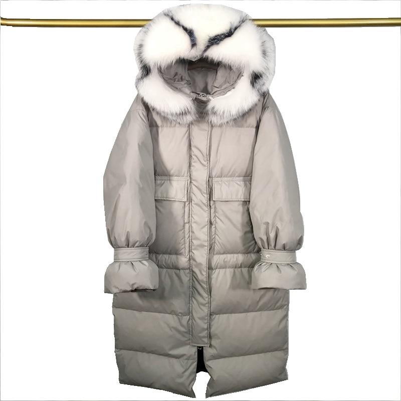 (TopFurMall) Winter Women Parkas   Down     Coats   Genuine Raccoon Fur Hoody Plus Size Lady X-Long Outwear Overcoat LF5177