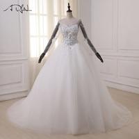 ADLN Ball Gown Wedding Dresses Long Sleeve Arabic Wedding Gowns Pearls Crystals Sweep Train Bride Dresss Vestido De Noiva