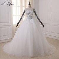 Elegant Ball Gown Wedding Dresses 2017 Long Sleeve Arabic Wedding Gowns Lace Applique Sweep Train Bride