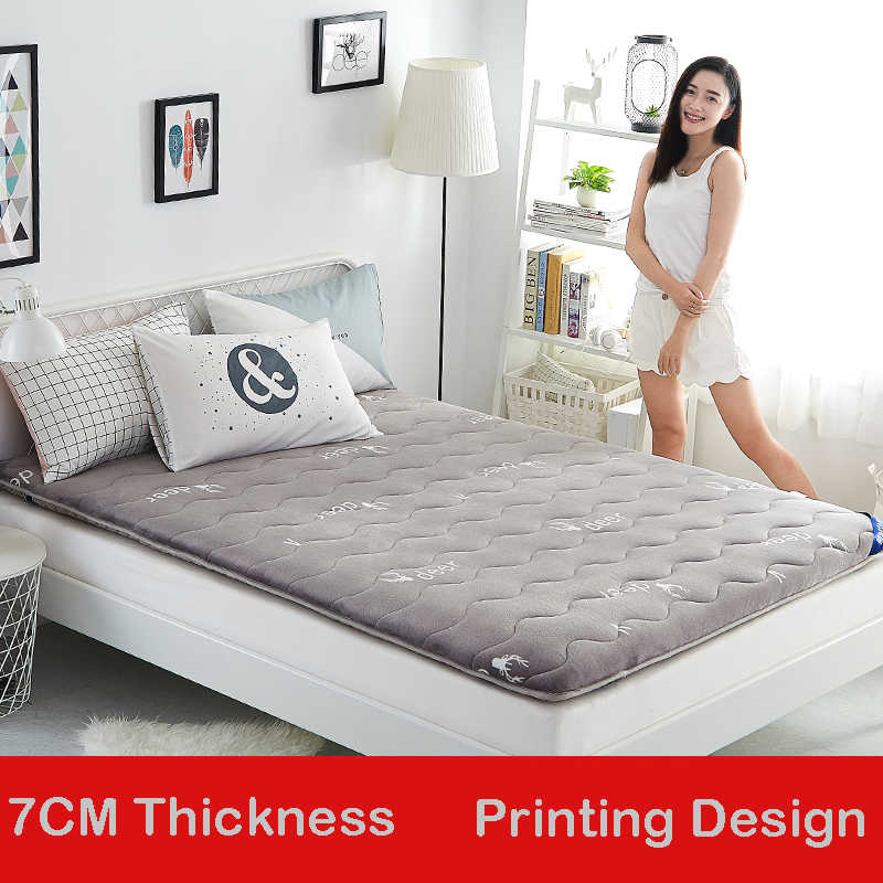 Infant Shining 7CM Mattress Thickened Flannel Mattress Double-sided Design Bed Mat Hard And Soft Moderate Mattress Four Seasons