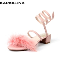 Karinluna Brand New Kid Suede Square Med Heels Feather Top Quality Shoes Woman Casual Summer Sandals