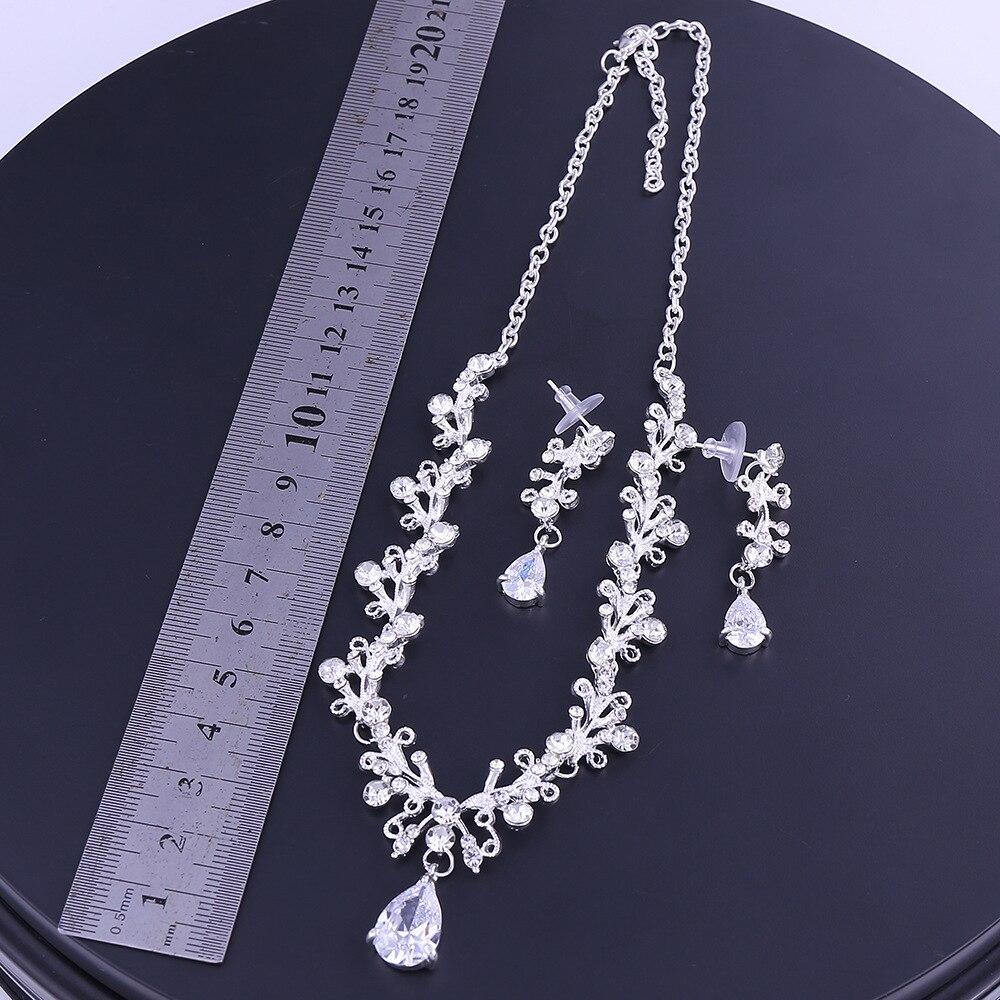 11 - Luxe Noble Feuille De Cristal, Bijoux De Mariée Strass Couronne Diadèmes Collier Boucles D'oreilles, Perles Africaines,