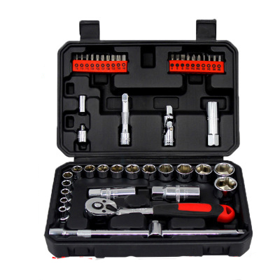 Professional Quality 46pcs Socket Set Car Repair Tool Ratchet Set Torque Wrench Combination Bit a set of keys Chrome Vanadium chrome vanadium steel tip of the tail tip wrench ratchet wrench 22 24 fast ratchet spanner tools