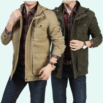 Khaki Army 2 colors Plus Size 4XL High Quality Cotton Men Bomber Jackets Military Jackets With Hood