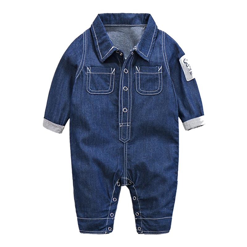 IYEAL New 2017 Baby Boy Clothes Romper Jeans Long Sleeve Overalls Jumpsuit Infant Spring Denim Cardigan Climbing Clothing new 2016 fashion brand women washed denim casual hole romper jumpsuit overalls jeans macacao feminino vintage ripped jeans