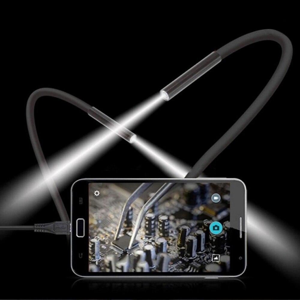 7 M 7 Millimetri Lens Impermeabile Mini Usb Endoscopio Tubo Di Ispezione Camera Periscopio Del Tubo Di Portata Del Serpente Con 6 Led Di Notte Visione Per Android
