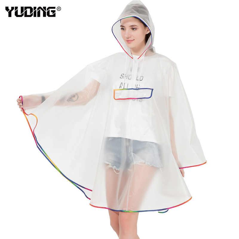 Yuding с капюшоном Для женщин непромокаемый плащ EVA Универсальный девочек Пеший Туризм/футболка для езды на велосипеде, пончо, Водонепроницаемый модные полу-прозрачный Дождевой Плащ для женщин