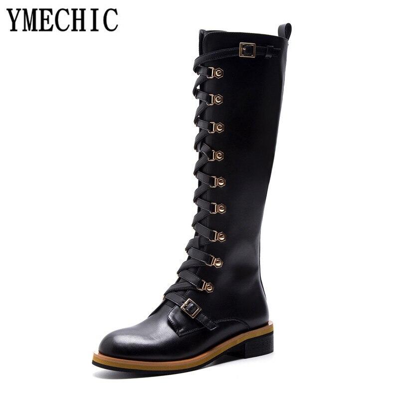 À Ymechic Cuir Chaussures Bottes 2018 Genou Moto D'équitation Haute En Long Boucle De Automne Noir Véritable Lacets Chevalier Femmes 8SIgSq