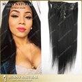 Pinza de Pelo en Las Extensiones Del Pelo Recto Natural 10 ~ 30 pulgadas Longitud super larga peluca de pelo Negro